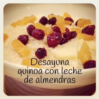 desayuno quinoa leche almendras receta